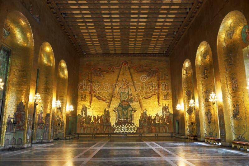 Salão dourado, Éstocolmo fotos de stock royalty free