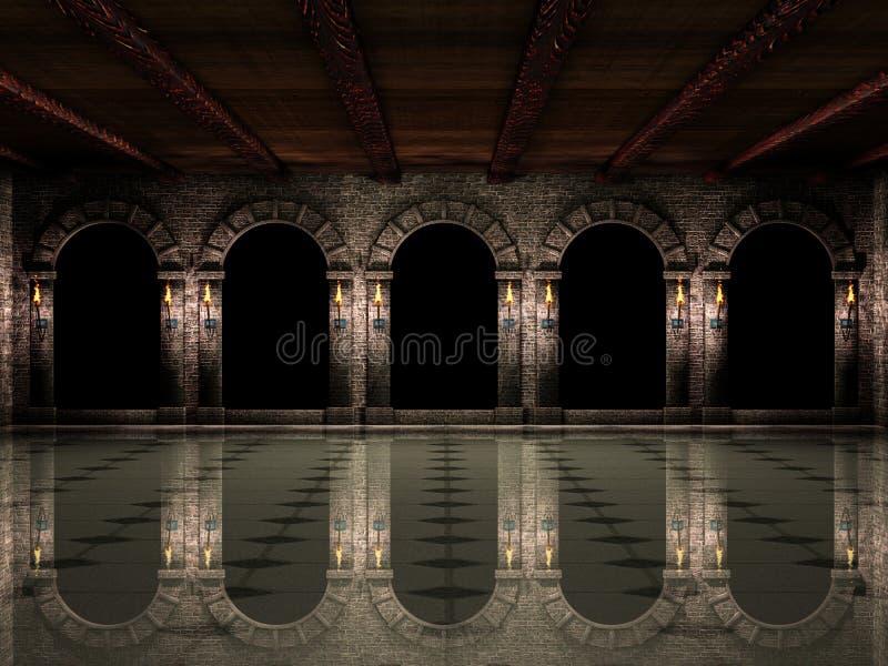 Salão e arcos do castelo ilustração royalty free