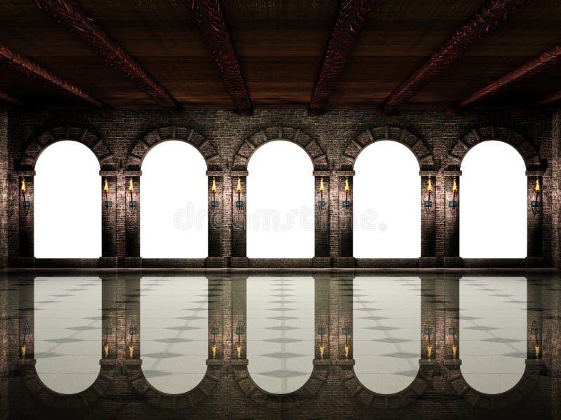 Salão e arcos medievais ilustração royalty free
