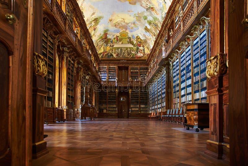 Salão filosófico, monastério de Strahov, Praga foto de stock