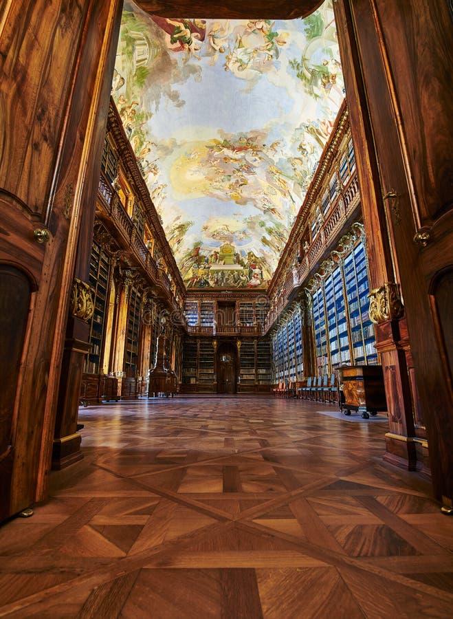 Salão filosófico, monastério de Strahov, Praga fotos de stock