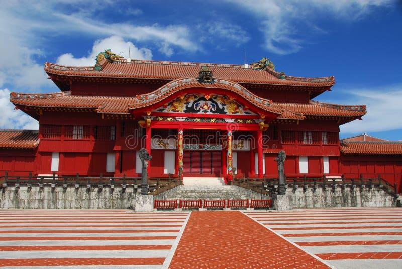 Salão principal no castelo de Shuri imagem de stock