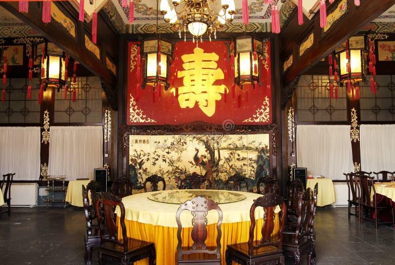Salão real chinês do banquete fotografia de stock royalty free