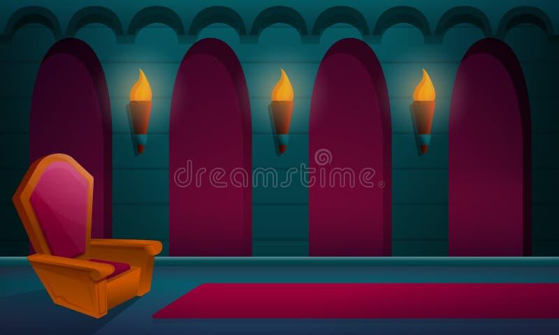 salão real no castelo com o trono ilustração do vetor