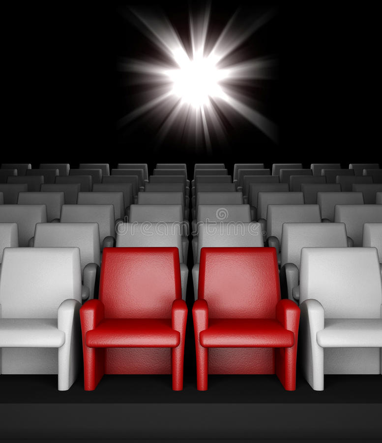 Salão vazio do cinema com assentos reserved do auditório ilustração stock