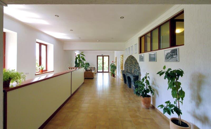 Salón brillante, claro adornado con la piedra artificial bajo la forma de chimenea foto de archivo libre de regalías