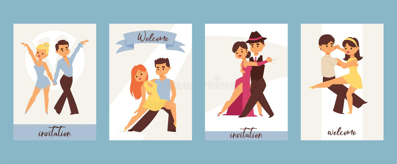 Salón de baile de baile del hombre y de la mujer, danzas de los deportes Tango, vals, ejemplo latinoamericano del vector de las d stock de ilustración