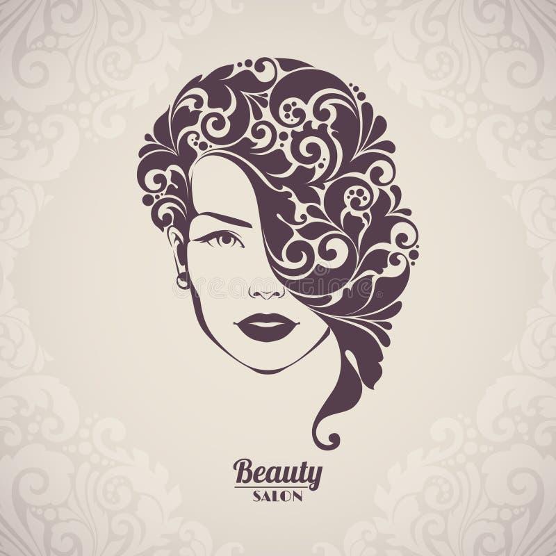 Salón de belleza, cosméticos, logotipo del balneario Silueta hermosa de la mujer elegante con el pelo ornamental stock de ilustración