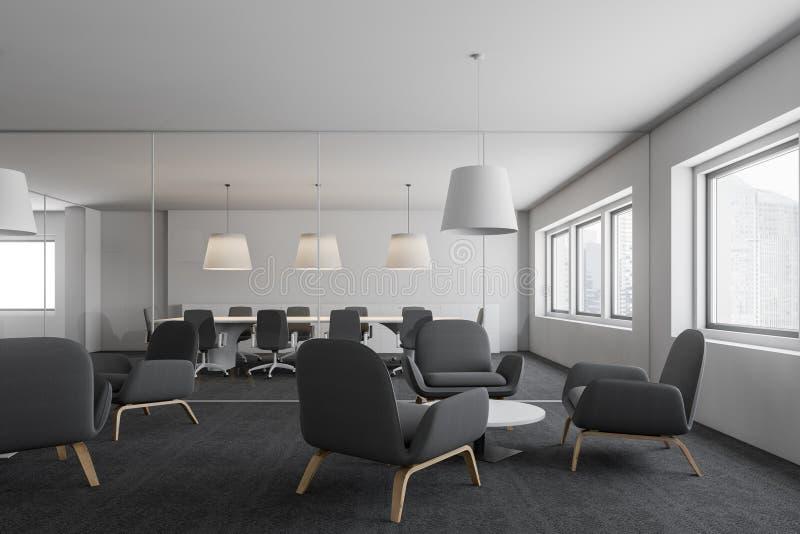 Salón de la oficina y sala de reunión blancos stock de ilustración