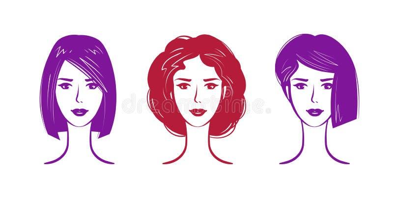Salón de la peluquería, logotipo del maquillaje Retrato de la muchacha hermosa o de la mujer joven con el peinado de moda Ilustra ilustración del vector
