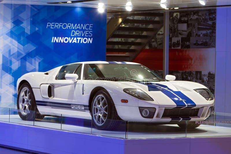 Salón del automóvil 2015 de Detroit del Supercar de Ford GT fotos de archivo libres de regalías