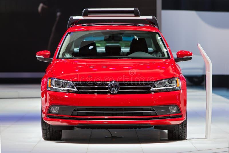 Salón del automóvil 2015 de Volkswagen Jetta Detroit imagen de archivo libre de regalías