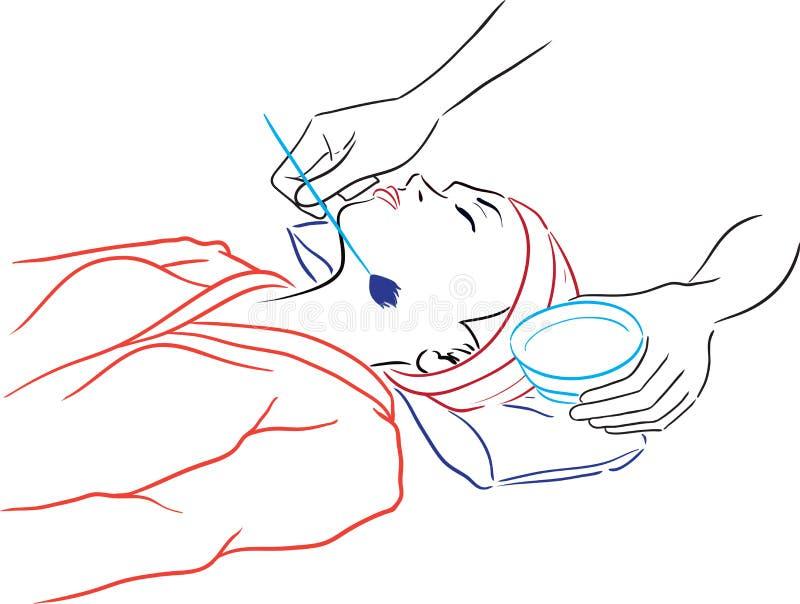 Salón del balneario de la serie - mujer que tiene balneario-procedimientos stock de ilustración