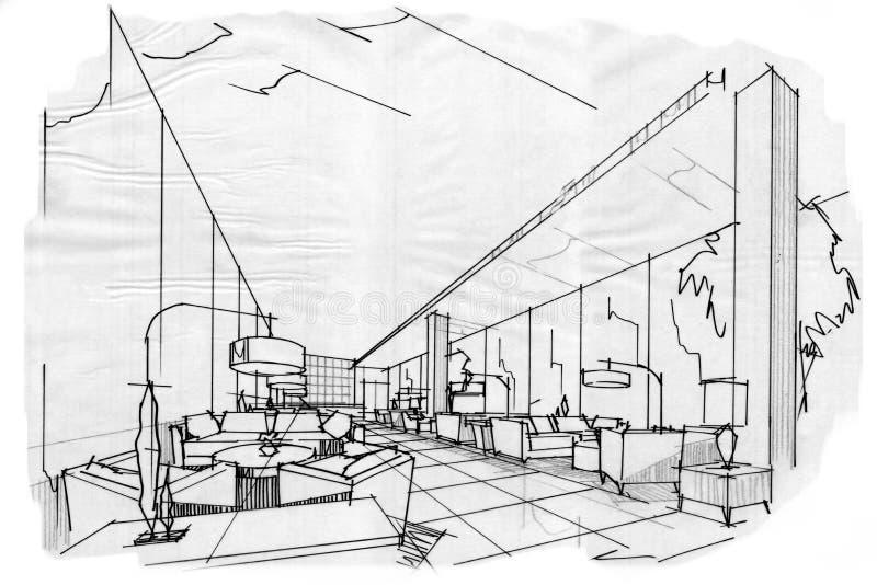 Salón interior del pasillo de la perspectiva del bosquejo libre illustration