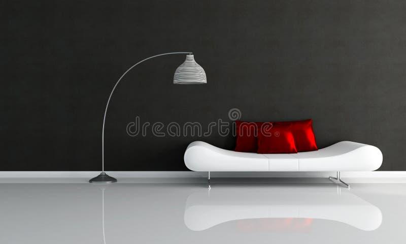 Salón minimalista blanco y negro stock de ilustración