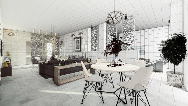 Salón moderno del apartamento stock de ilustración