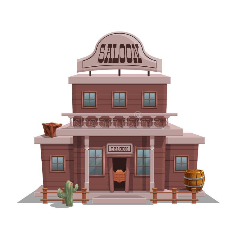 Salón para la ciudad occidental para el nivel del juego y fondo aislado en el fondo blanco Diseño constructivo - oeste salvaje stock de ilustración