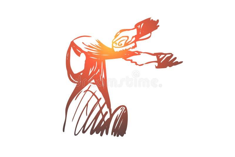 Salón, pelo, peluquero, mujer, concepto del estilista Vector aislado dibujado mano ilustración del vector