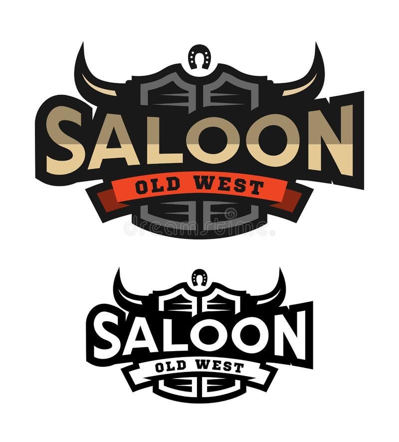 Salón, taberna, logotipo del oeste salvaje, emblema ilustración del vector