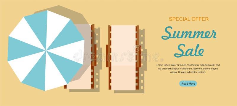 Salón y paraguas de la calesa Bandera del web de la venta del verano libre illustration