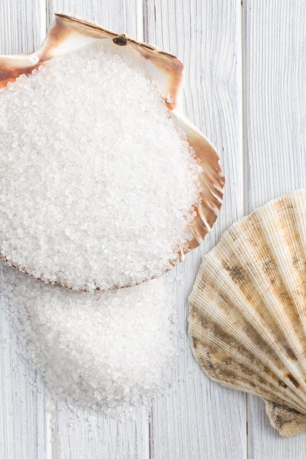 Sal cristalina blanca en seashell imagenes de archivo