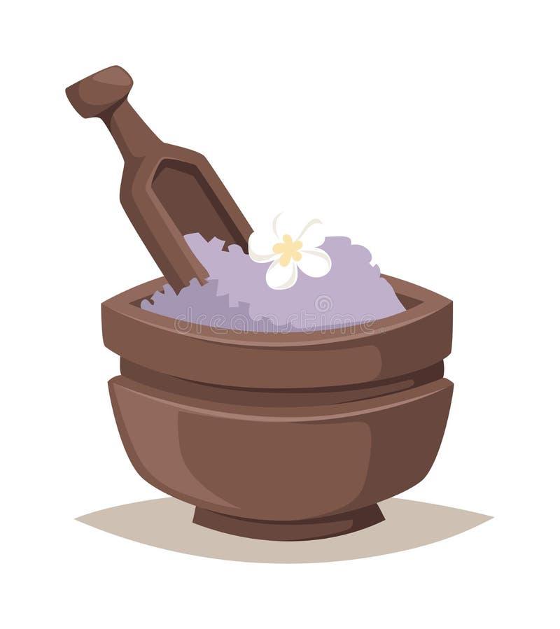 Sal da alfazema em termas do tratamento da beleza do banho da bacia e no vetor orgânico da terapia do bem-estar ilustração stock