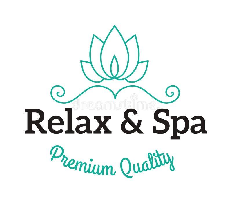 Sal da alfazema em termas do tratamento da beleza do banho da bacia e no vetor orgânico da terapia do bem-estar ilustração do vetor