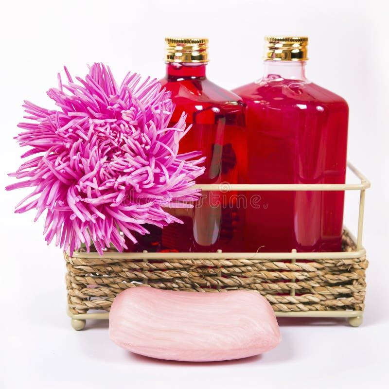 Sal de baño, jabón y champú en color rosado y violeta imagen de archivo libre de regalías