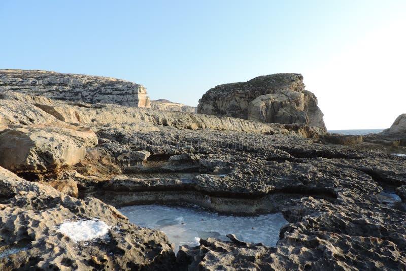 Sal en una roca entera, Gozo, Malta imagen de archivo
