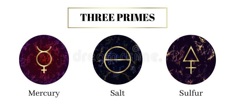 Sal, mercurio, azufre Sistema de s?mbolos alqu?micos ilustración del vector