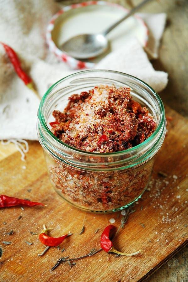 Sal picante con los tomates y el chile secados fotos de archivo libres de regalías