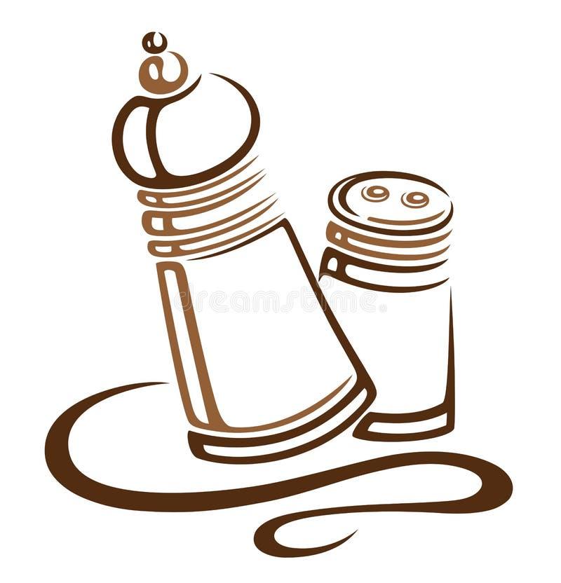 Sal, pimenta ilustração do vetor