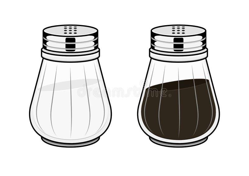 Sal-potenciômetro e pimenta-potenciômetro ilustração royalty free