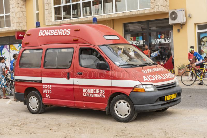 Sal Rei Cape Verde de la ambulancia imagen de archivo