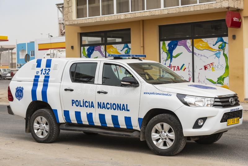 Sal Rei Cape Verde del coche policía imagen de archivo