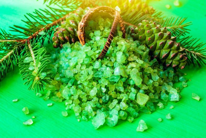 Sal verde para aromatherapy fotos de archivo libres de regalías