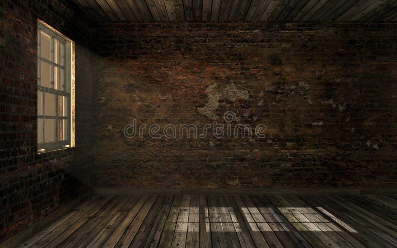 A sala abandonada velha escura vazia com a parede de tijolo rachada velha e o assoalho de folhosa velho com volume iluminam-se at ilustração do vetor