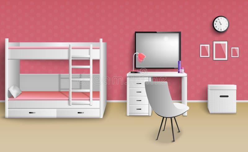 Sala adolescente da menina realística ilustração royalty free