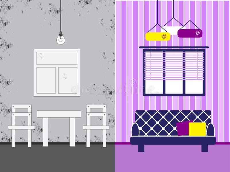 Sala antes e depois do reparo ilustração stock