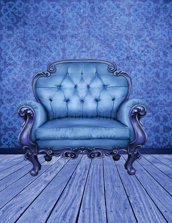 A sala azul decorada fotos de stock
