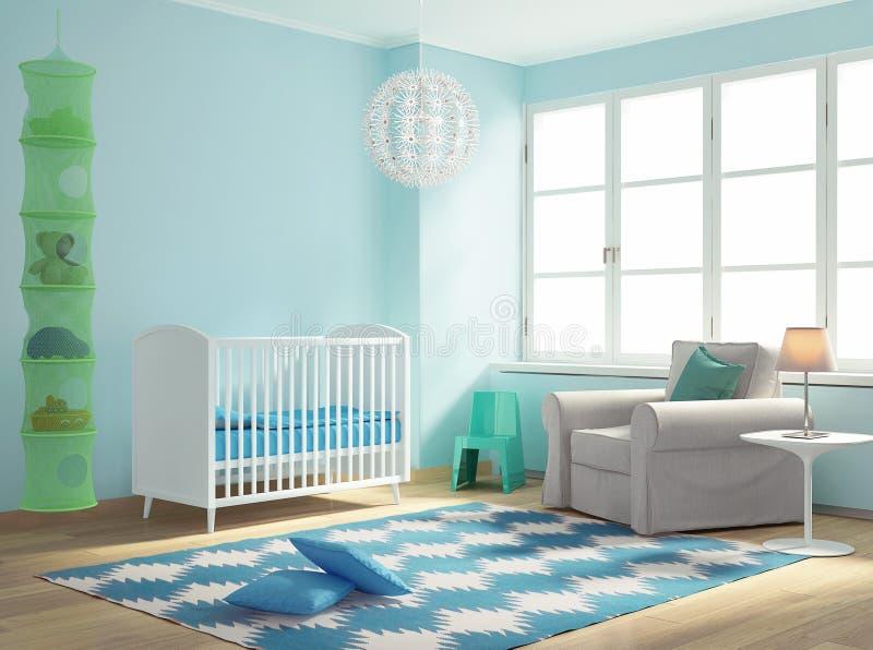 Sala azul do bebê do berçário com tapete ilustração stock