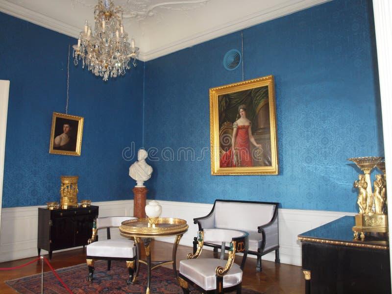Sala azul no palácio de Festetics, Keszthely imagens de stock