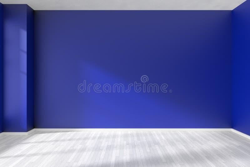 Sala azul vazia com assoalho de parquet ilustração royalty free