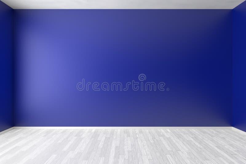 Sala azul vazia com o assoalho de parquet branco ilustração do vetor