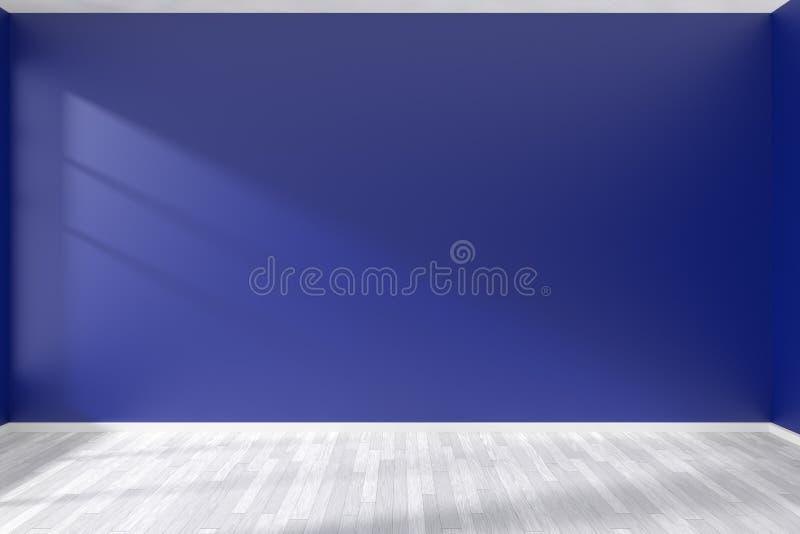 Sala azul vazia com o assoalho de parquet branco ilustração royalty free