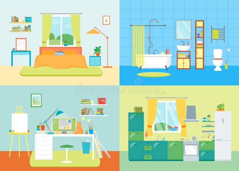 Sala básica interior dos desenhos animados da casa Vetor ilustração royalty free