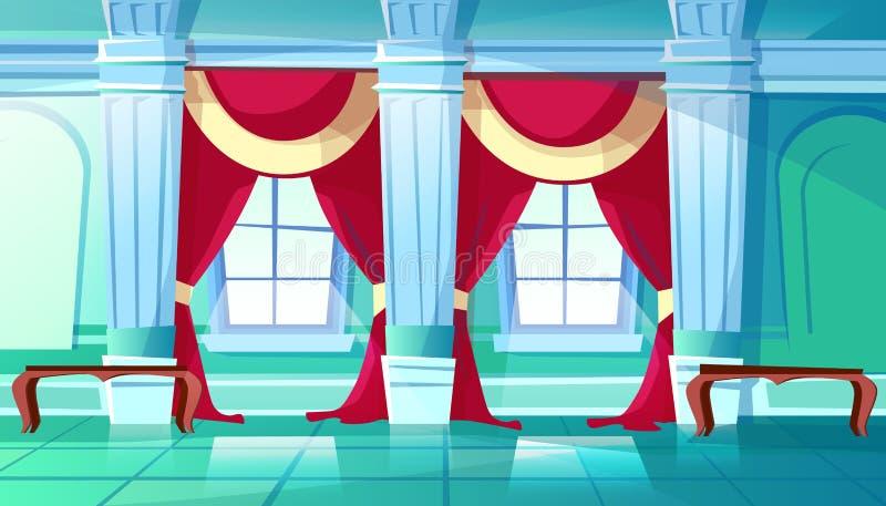 Sala balowej lub pałac królewskiego sala wektoru ilustracja royalty ilustracja