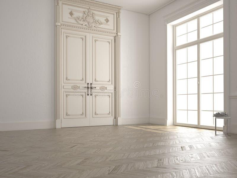 Sala branca clássica com janela e uma vista 3d ilustração do vetor