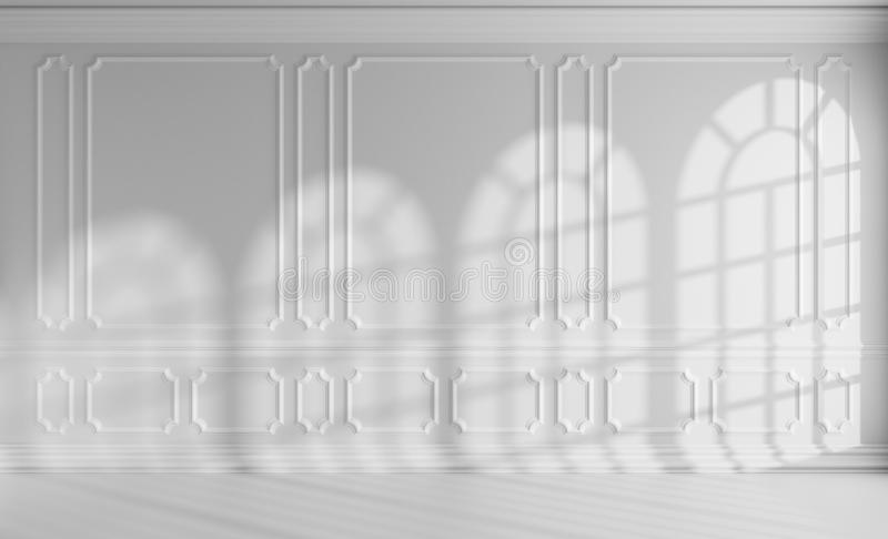 Sala branca com a decoração clássica do estilo e as janelas arredondadas ilustração royalty free