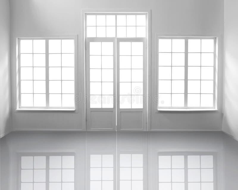 Sala branca com janelas imagens de stock royalty free
